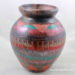 Vase Red Clay Horsehair Pottery with mountains and feather designs