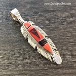 Red Opal and Spiny Oyster Feather Pendant