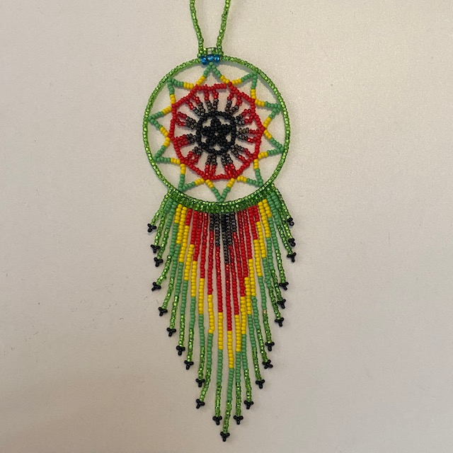 Hand Beaded Dream Catcher Green Red