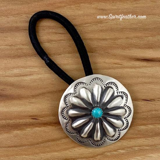 Navajo Sterling Silver Hand Stamped Hair Tie