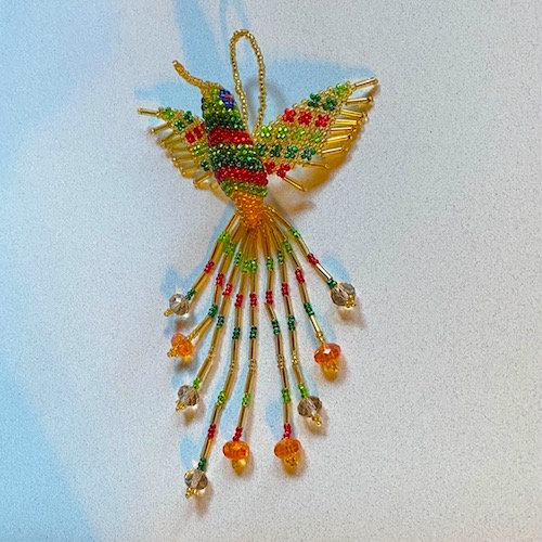 Hand Beaded Hummingbird Ornament Gold with Mixed Colors