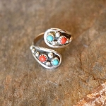 Sterling Silver Adjustable Ring with turquoise and coral nuggets oxidized background - one size fits most