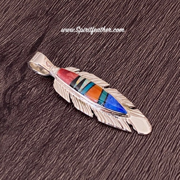 Sterling Silver Multi-Color Inlay Feather Pendant