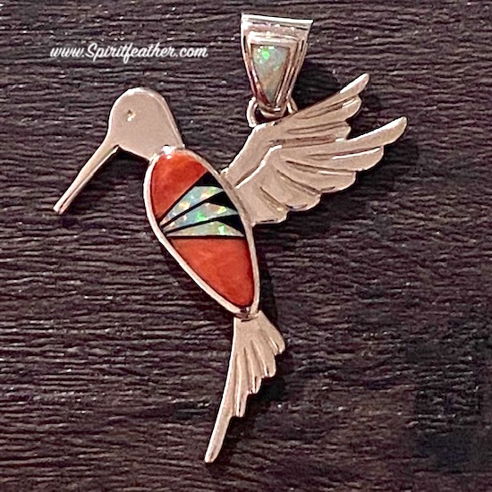 Spiny Oyster, Opal and Black Jade Hummingbird Pendant