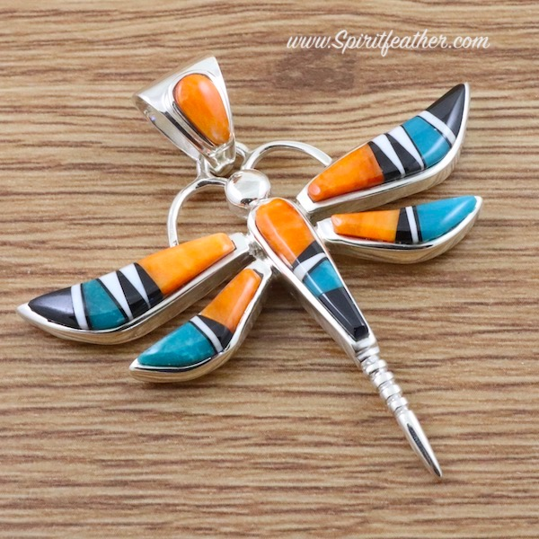 Sterling Silver Dragonfly Pendant inlaid in Multi Colors - Large Size