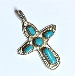 Turquoise Angel Shaped Cross Pendant in Sterling Silver