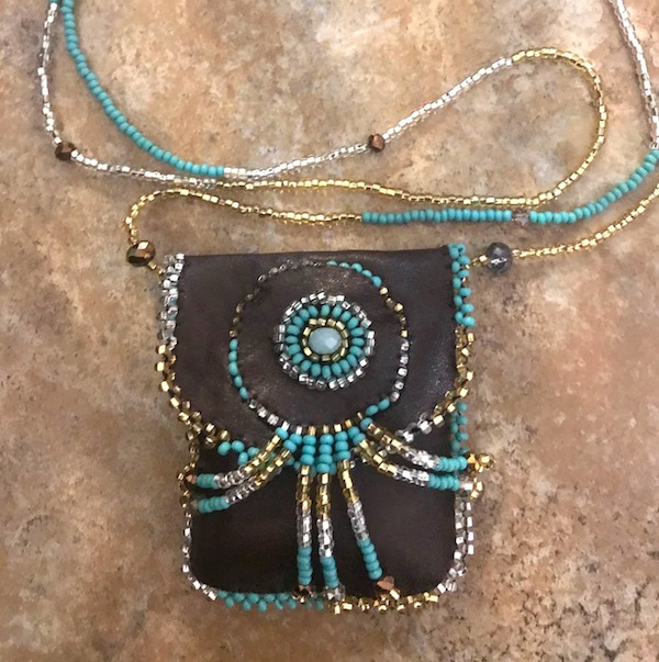Hand beaded leather Medicine Bag