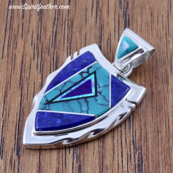 Lapis Lazuli, Turquoise and Spider Web Opal Sterling Silver Arrowhead Pendant