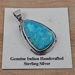 Kingman Turquoise and Beautiful Sterling Silver Pendant