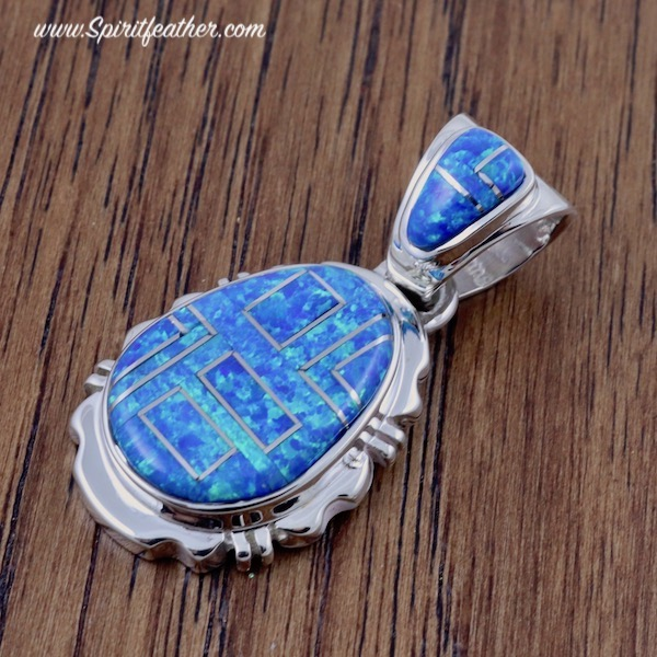 Aqua Opal and Sterling Silver Oval Pendant Nice and Thick
