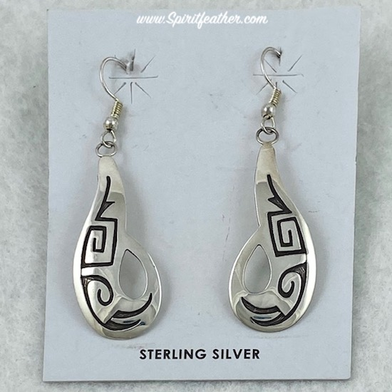 Sterling Silver Wavy Swirls Hopi Style Earrings