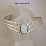 Sterling  Silver V Shaped Opal Bracelet