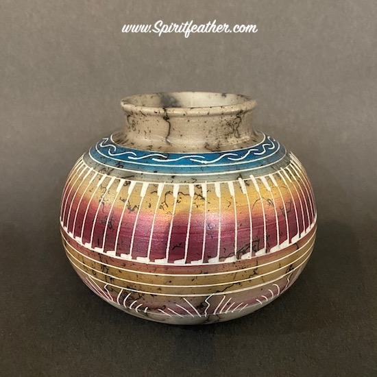 Horse hair pottery with Petrified Forest Colors and Feather Designs