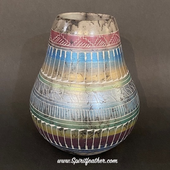 Horse hair pottery with Petrified Forest Colors and Feather Designs - tall