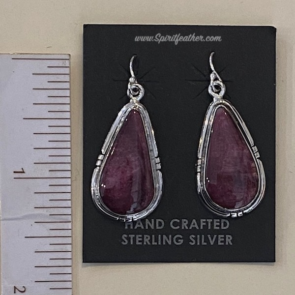 Purple Spiny Oyster and Sterling Silver Earrings