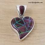 Purple Spiny Oyster with Opal Inlaid Heart Pendant