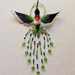 Hand Beaded Hummingbird Ornament Ruby Throated