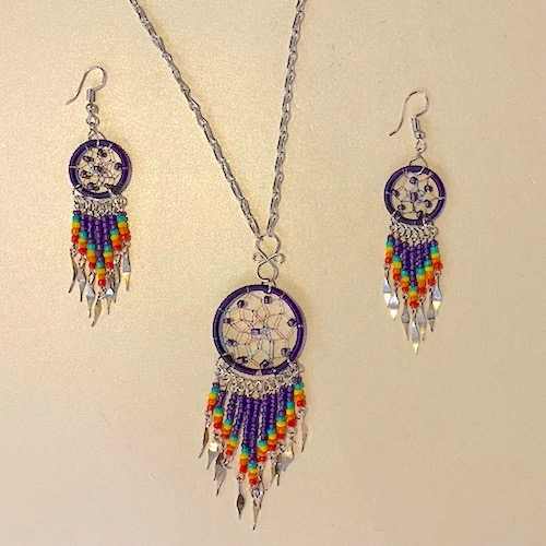 Purple Necklace and Earrings Dream Catcher Set