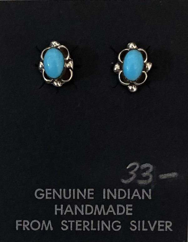 Small Sweet Zuni made Turquoise and Sterling Silver Earrings