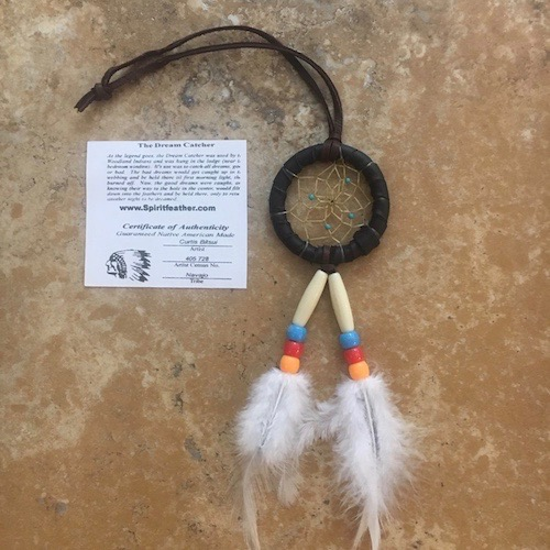 Navajo Dreamcatcher with Black Leather