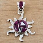Purple Spiny Oyster Inlaid Sun Pendant