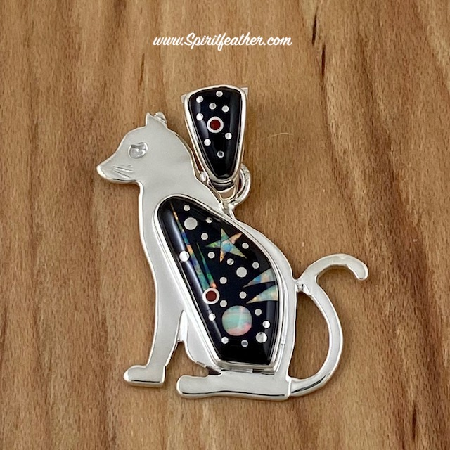 Starry Night Cat Pendant by Fred Begay