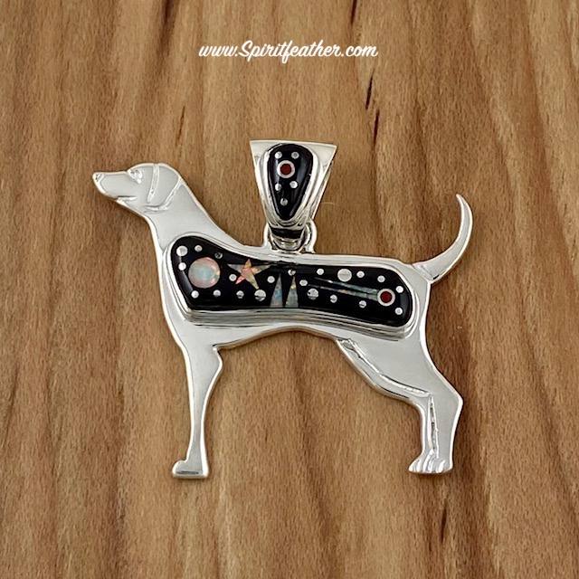 Starry Night Native American dog pendant by Marty Yazzie