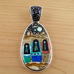 Calvin Begay Two Sided Art Scenery Pendant