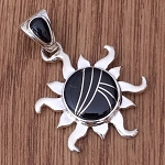 Black Jade Inlaid Sun Pendant