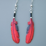 Bone carved Cardinal feather painted earrings
