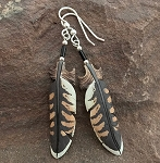Bone carved Falcon feathers painted earrings