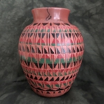Red clay pottery with geometric designs