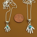 Sterling Silver Healing Hand Pendants with Sterling Silver Chain and Turquoise nuggets