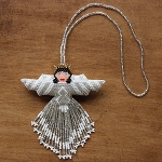 Large Hand Beaded Angel ornament - two sided