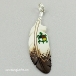 Bone carved eagle feather pendant with a painted turtle and medicine wheel