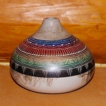Horse hair pottery with geometric designs all the way around