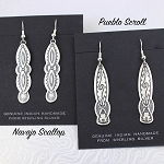 Sterling Silver Navajo Scallop Design Earrings
