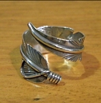 Sterling Silver Adjustable Feather Ring - one size fits all