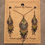 Necklace and Earrings String Art Set Moss Green
