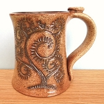 Tree of Life Mug with Thumb Rest and Hand Carved