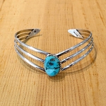 Sterling  Silver V Shaped Turquoise  Bracelet