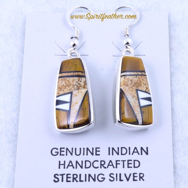 Brown Earth Tone Earrings in Sterling Silver and Fine Inlay