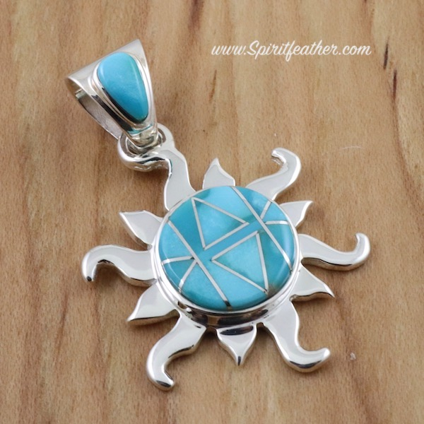 Turquoise and Sterling Silver Inlaid Sun Pendant