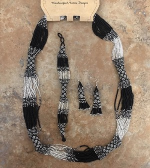 Three Piece Set, Necklace, Earrings and Bracelet Black Silver White
