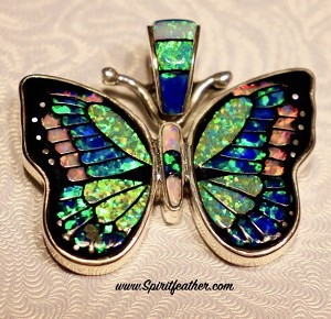 Striking Opal Inlaid Butterfly Pendant