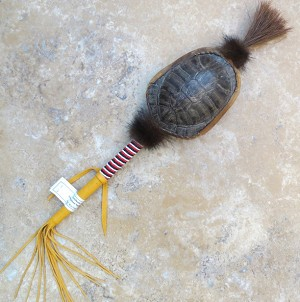 Cherokee made turtle shell rattle