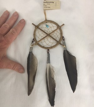 "Authentic Native American Crossed Arrows Friendship Dream Catcher 3"" hoop"