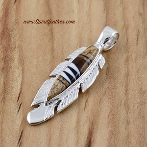 Earthy Colors In This Inlay Sterling Silver Feather Pendant