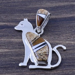 Earth tone Cat pendant by Fred Begay
