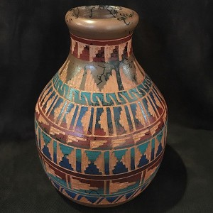 Petrified Forest red clay pottery with geometric designs